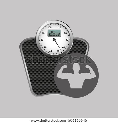 fitness silhouette weigh scale gym graphic vector illustration eps10