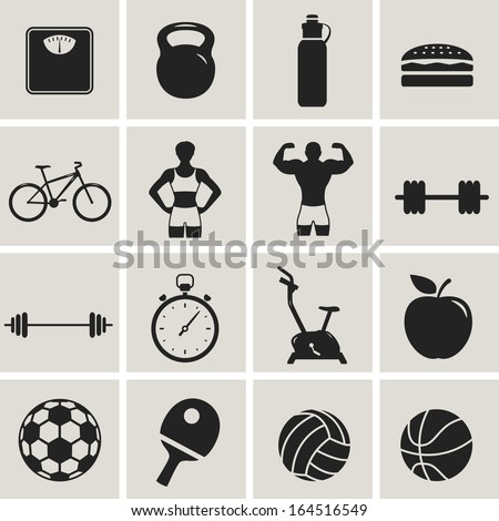 fitness sport and health black web icon set. vector illustration - stock vector
