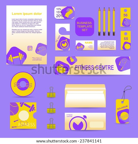 Fitness sport and health business template set.  Vector company style elements for brandbook