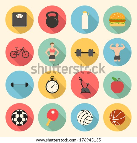 fitness sport and health colorful flat design icons set. template elements for web and mobile applications - stock vector
