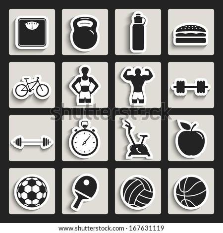 fitness sport and health flat design icon set. paper stickers template elements for web and mobile applications - stock vector
