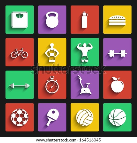 fitness sport and health flat design icon set. template elements for web and mobile applications - stock vector