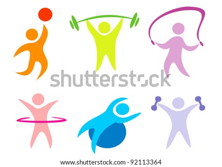 fitness, sport collection of icons - stock vector