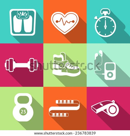 Fitness sport icon collection premium in flat style - stock vector