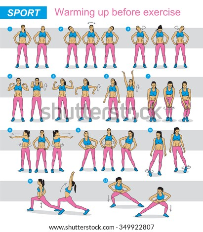 fitness sports girl performs exercises stepbystep stock