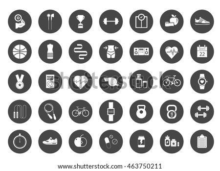 Fitness, sports, healthy lifestyle: exercise, diet, food and human body icons set