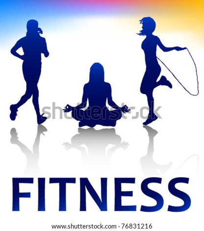 fitness style silhouettes - stock vector