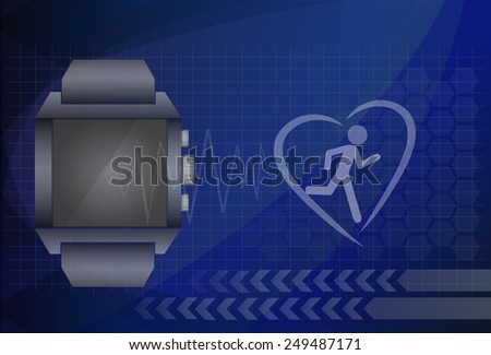 Fitness tracker application for smart watch concept with heart monitor and silhouette of running or jogging person. Eps10 vector illustration. - stock vector