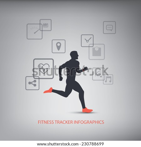 Fitness tracker icons for monitoring health with man running silhouette. Eps10 vector illustration. - stock vector