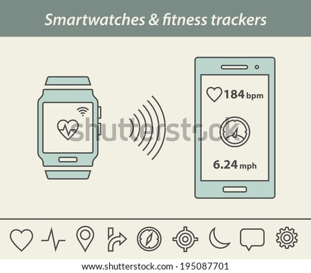 Fitness tracker & smartwatch icons. Smartwatch or fitness tracker connect to smart phone - stock vector