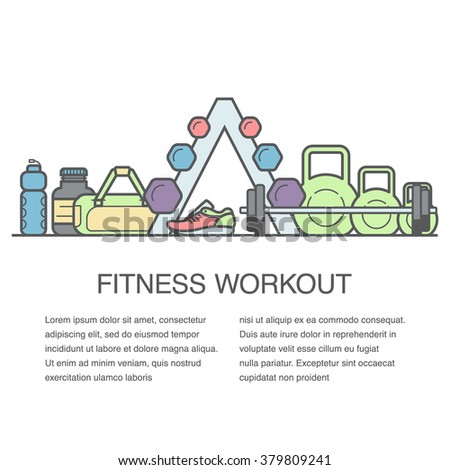 Fitness vector background with copy space. Flat concept of gym banner or fitness advertisement.  - stock vector