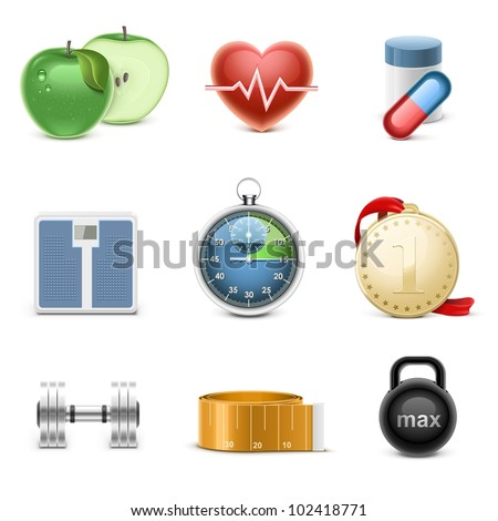 fitness vector icon set - stock vector