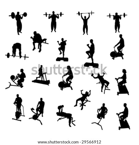 Fitness Vector Silhouettes - stock vector