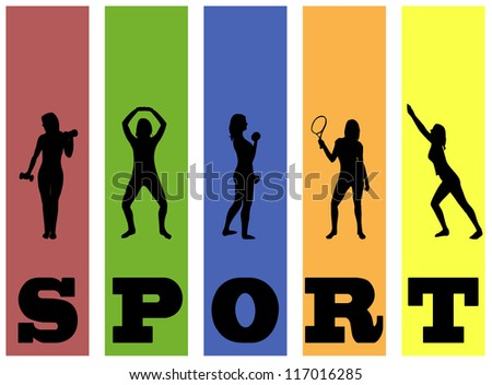 Fitness vector silhouettes on abstract background - stock vector