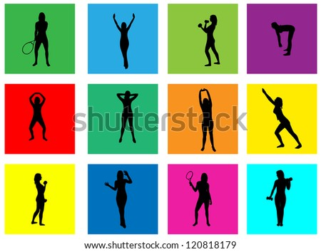 Fitness vector silhouettes on abstract background