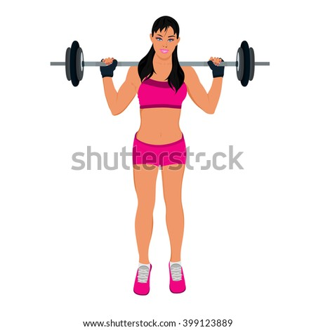 fitness woman doing squats with weight, vector illustration - stock vector