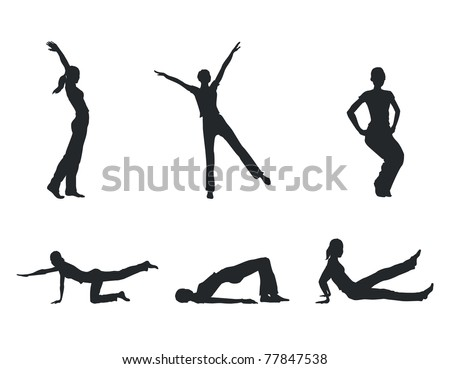 Fitness women silhouettes - stock vector