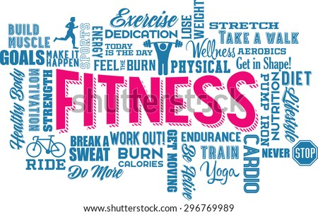 Fitness Word Cloud and Collage  - stock vector
