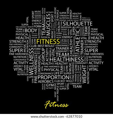 FITNESS. Word collage on black background. Illustration with different association terms. - stock vector