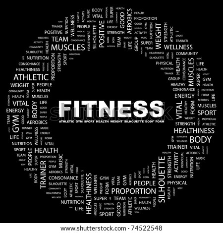 FITNESS. Word collage on black background. Vector illustration. Illustration with different association terms.