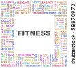 FITNESS. Word collage on white background. Illustration with different association terms. - stock photo