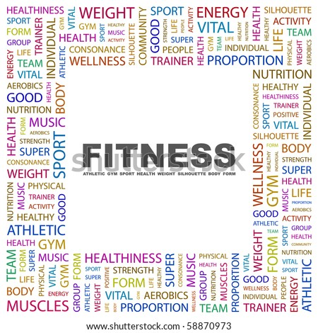 FITNESS. Word collage on white background. Illustration with different association terms. - stock vector