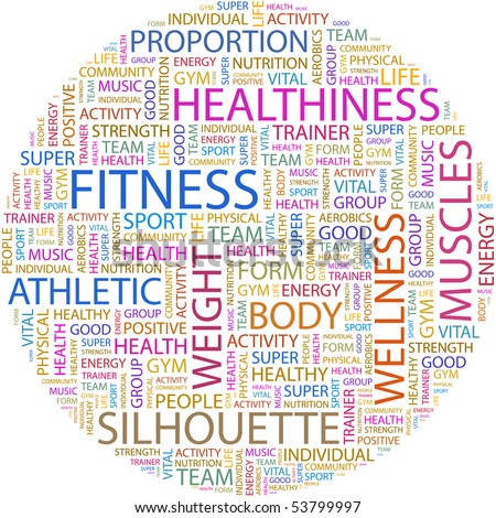 FITNESS. Word collage on white background. Vector illustration. - stock vector