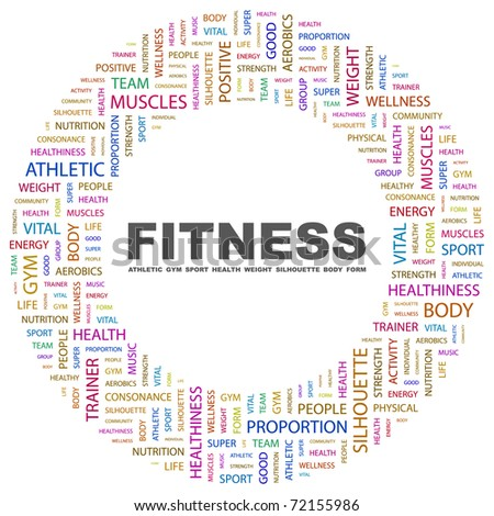 FITNESS. Word collage on white background. Vector illustration. Illustration with different association terms. - stock vector