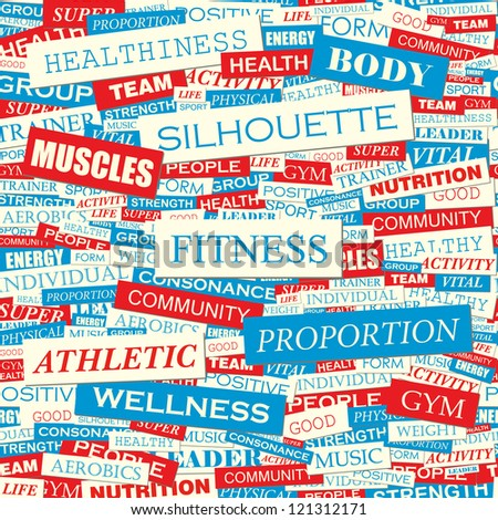 FITNESS. Word collage. Vector seamless illustration.
