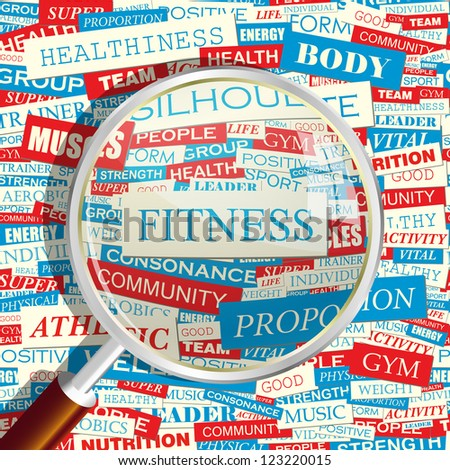 FITNESS. Word collage. Vector seamless illustration. - stock vector