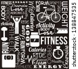 fitness words over black background. vector illustration - stock photo