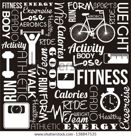 fitness words over black background. vector illustration - stock vector