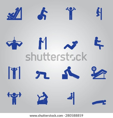 Fitness Workout Icon Set - stock vector
