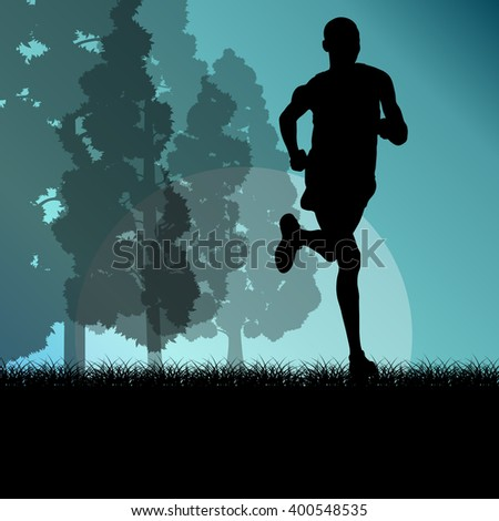 Fitness young man runner running in forest landscape vector illustration background - stock vector
