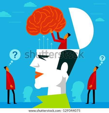 fitting a mind in human head - stock vector