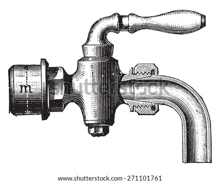 Fitting drain tap, vintage engraved illustration. Industrial encyclopedia E.-O. Lami - 1875.  - stock vector