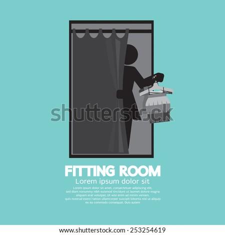Fitting Room Black Graphic Vector Illustration - stock vector