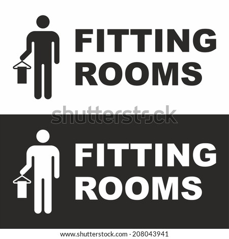 Fitting rooms sign - stock vector