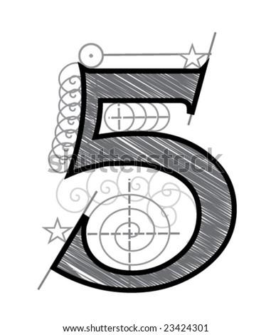 Five - stock vector