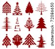 five abstract christmas tree stencils - stock vector