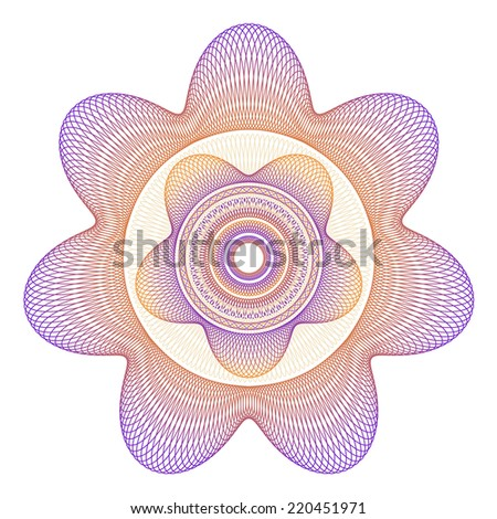 Five and Seven Point Star Guilloche Rosette Vector Illustration - stock vector