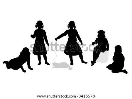 Five black children's silhouettes and a cat on a white background.
