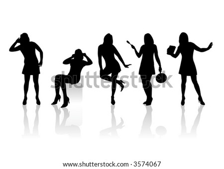 Five black fashionable female silhouettes on a white background with shadows.
