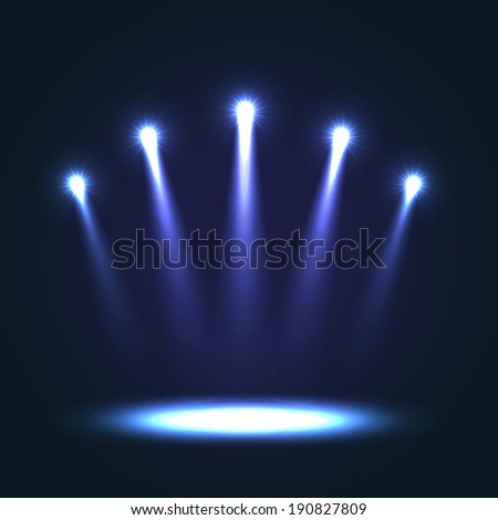 Five blue bright projectors for scene lighting decoration on black background. Special vector light effects - stock vector