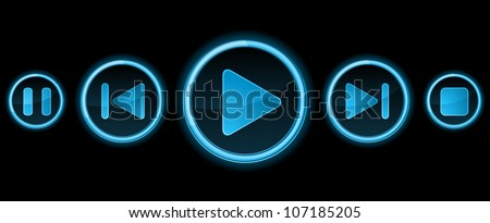 Five blue media player buttons on black - stock vector