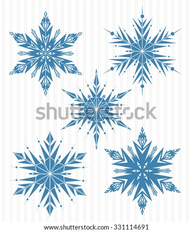 Five blue snowflakes