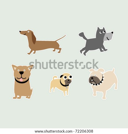 Five breeds of dogs as stickers; Dachshund, Pit-bull, Bulldog, Pug, and a Terrier. - stock vector