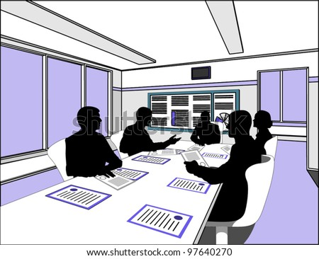 five business people negotiate at the table on the white chairs - stock vector