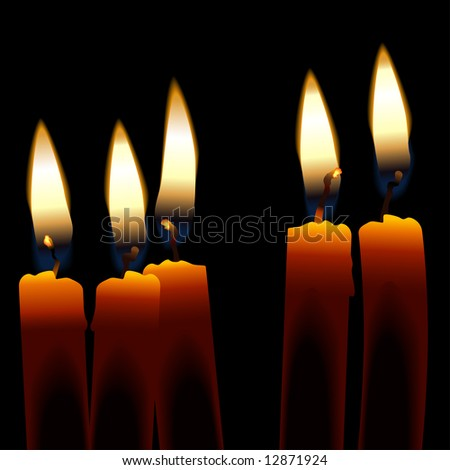 Five Candles isolated against a dark background.