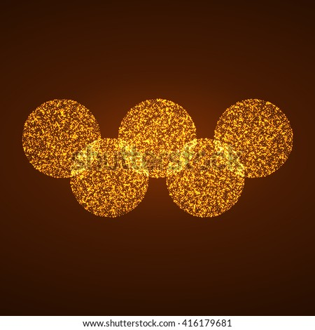Five circles of bright burning particles. Vector illustration - stock vector